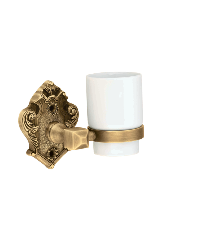 Baroque glass tumbler and holder for bathroom and powder room for homes