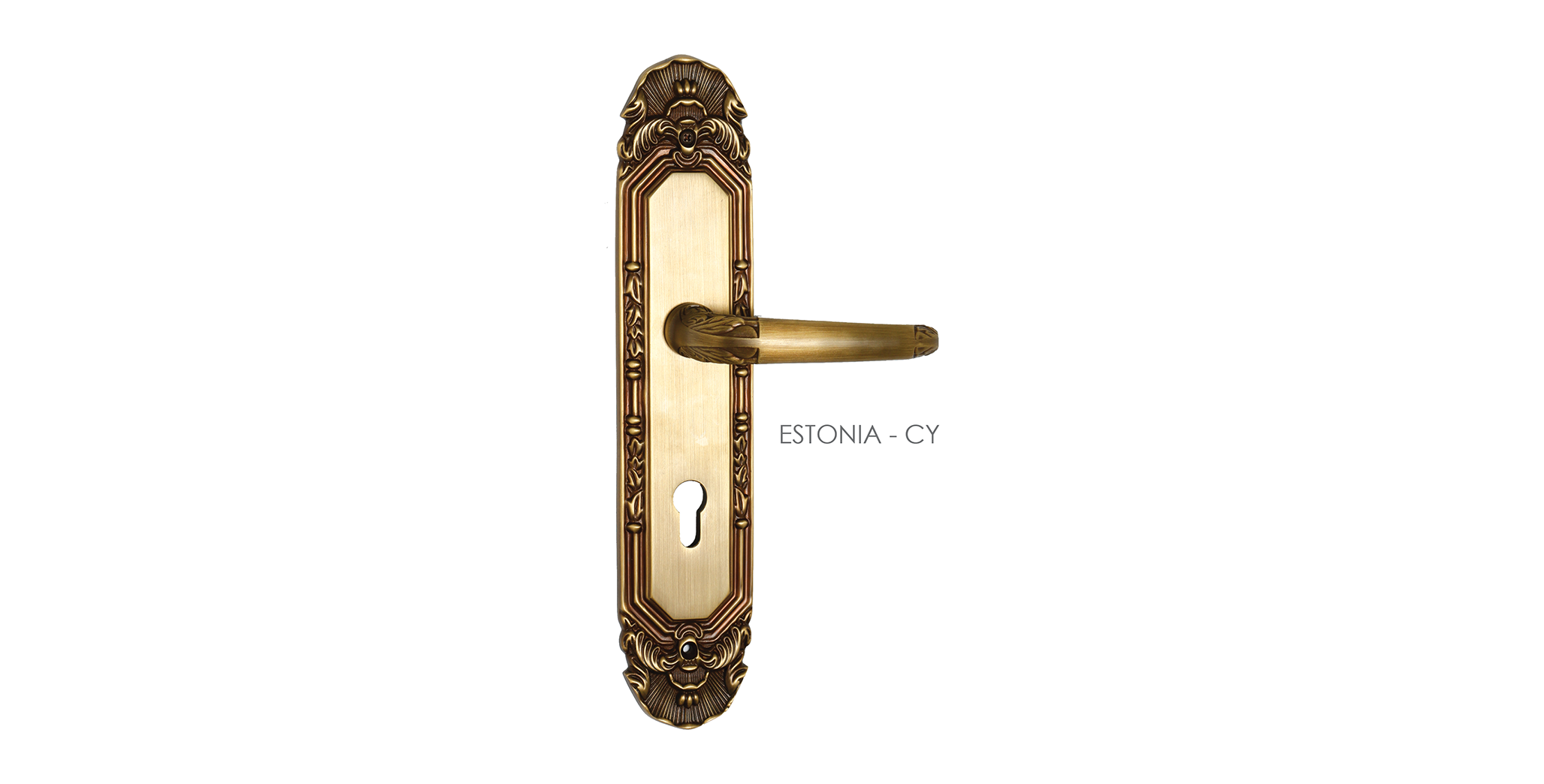 Brass Mortise Door Handle On Plate For Hotels
