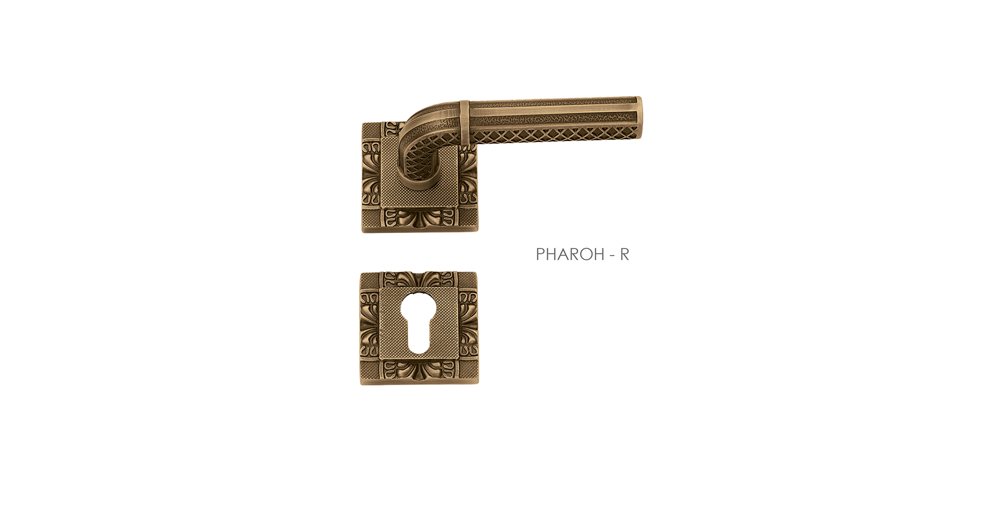 Carved Mortise Door Handle & Lock On Rosette For Apartments