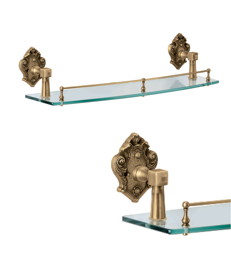 Classic glass shelve as per utility and size for bathroom and powder room for villa