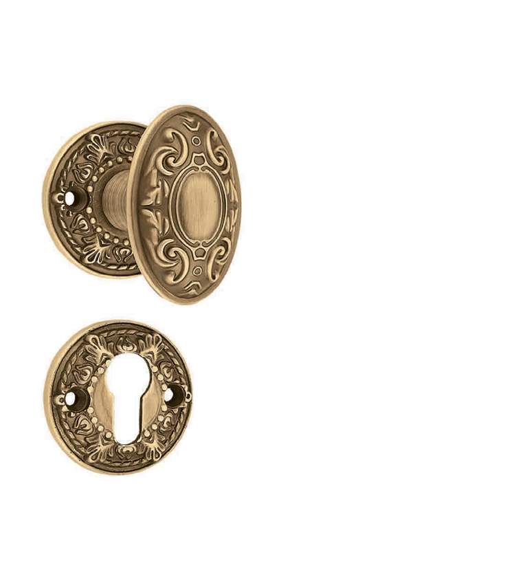 Classic mortise door knob on rosette for chateaus