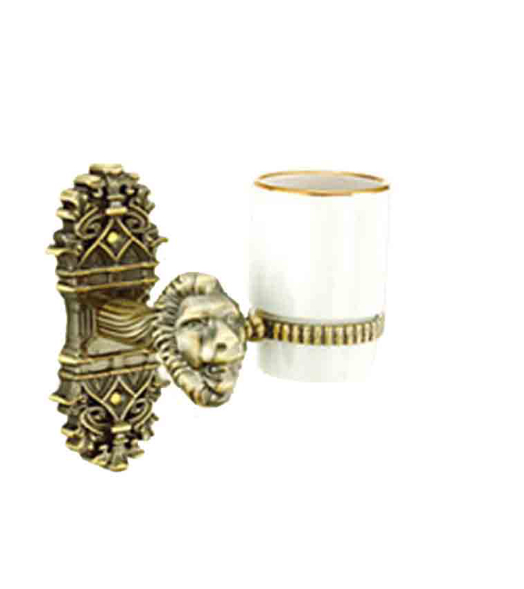 Gothic glass tumbler and holder for bathroom and powder room for homes